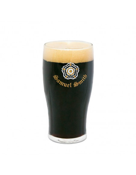 Vaso de cerveza negra Samuel Smith Imperial Stout - Birra365