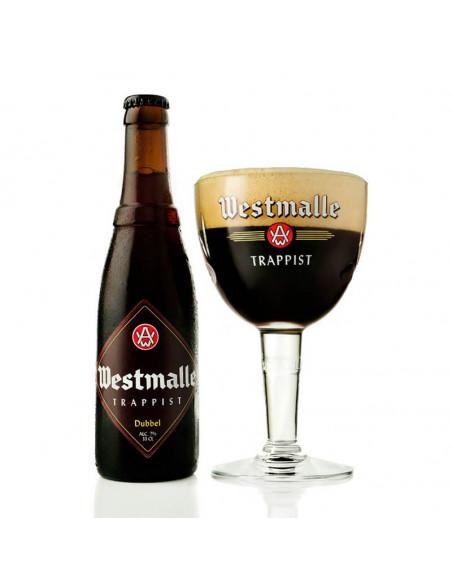 Cerveza tostada trapense Westmalle dubbel en copa - Birra365