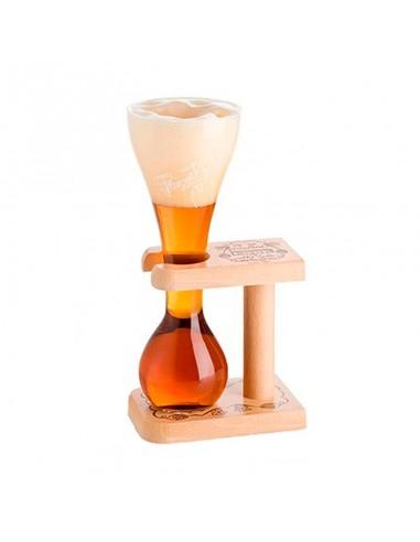 Vaso más soporte madera cerveza Kwak - Birra365