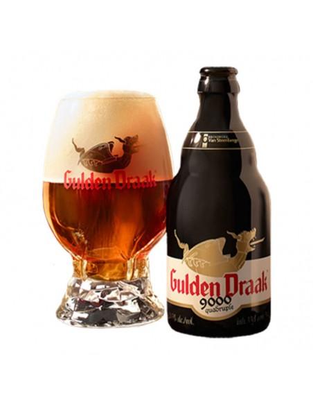 Cerveza quadrupel Gulden Draak 9000 con copa huevo - Birra365
