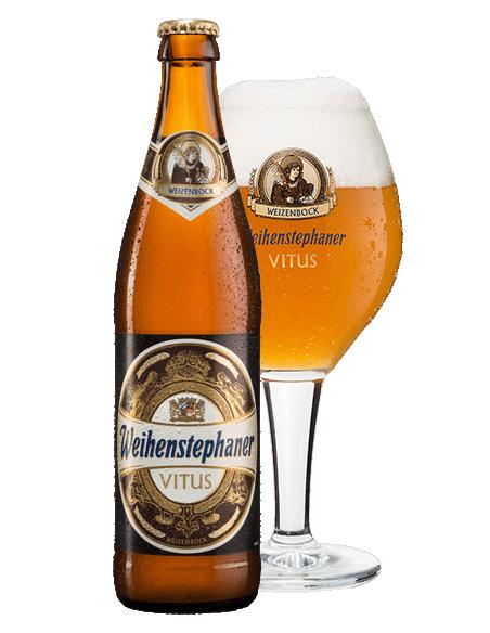 cerveza de trigo alemana Weihestepahner vitus con copa - Birra365