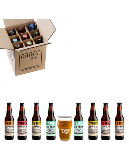 pack regalo cervezas artesanas Tyris con vaso regalo - Birra 365